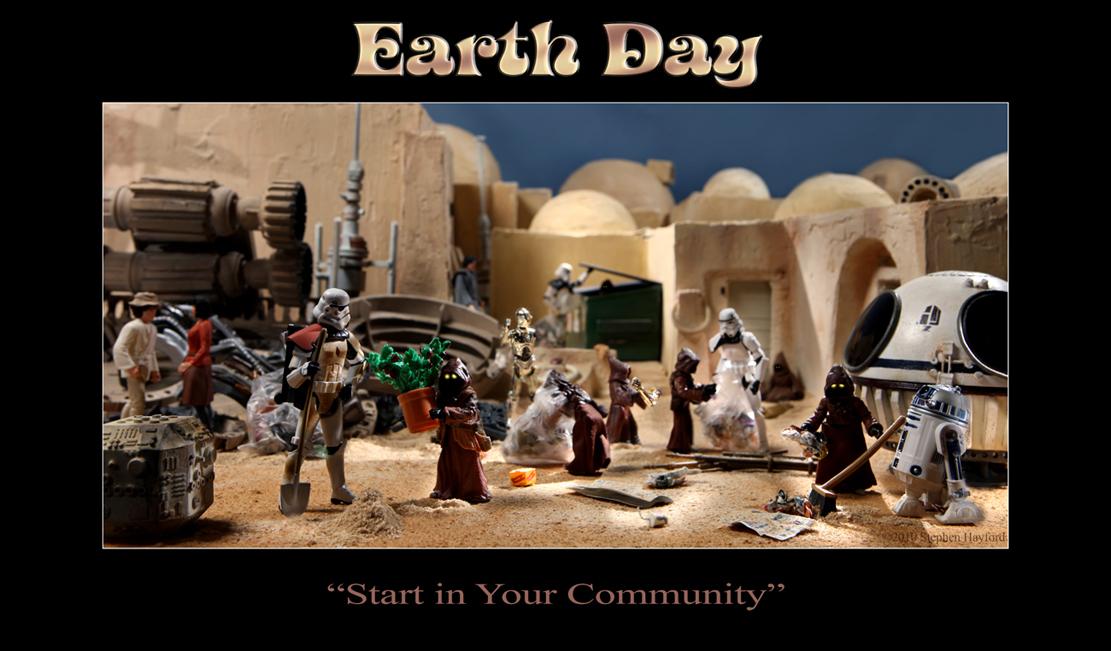 Diorama di Stephen Hayford dedicato al Giorno della Terra.